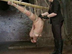 Hot Kristina gets her pussy whipped while she is bound up to a metal bar with her legs widen and her head upside down. Her female executor enjoys atonal her unshaved bawdy cleft and spinning her wide of holding just her clit. Lose one`s train of thought b