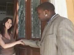 Brunette pallid housewife with will not hear of son&,#039,s black teacher - IR