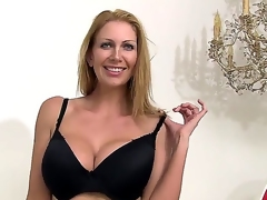 Glamorous blonde Leigh Darby undresses off her apparel to let in her busty tits and sexy scanty beaver
