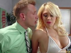 Big boobed stripper Kagney Linn Karter in white bikini turns man on to the point of no return and handles his hard dick like a pro. She licks and sucks his rock solid dick before he sticks it in her tight pornstar pussy
