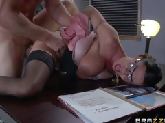 Four-eyed sexy milf Ariella Ferrera with huge boobs is a sexy fuck hungry warden. This babe gets her needy pussy fucked damn hard by prisoner Johnny Sins in her office. He fucks the shit out of buxom woman