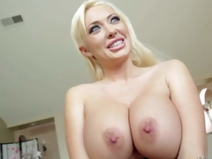 Buxom Summer Brielle is a devilishly beautiful long haired blonde bombshell in high heels. Leggy doll with smile on her beautiful face shows off her massive melons. That babe is proud of her tatas