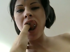 Juvenile brunette horny hottie Abbie Cat got her toes sucked off by Rocco Siffredi and now getting cruelly fucked in her tight pussy.
