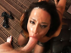 Francesca Le makes Mark Wood happy by eating his erect man meat