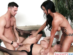 Asian Jewels Jade with huge jugs and smooth cunt shows her slutty side to horny dude Seth Gamble