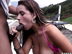 Latin Sofia gets her pretty face painted with love juice after sex with hot dude