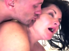 Aged brunette Evelin called her neighbor to call to memory volcanic orgasms