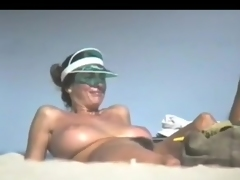 Fabulous Breasty Playgirl on Exposed Beach