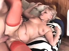 Lusty grandma can't wait to take in a horny hunk's vicious cum gun