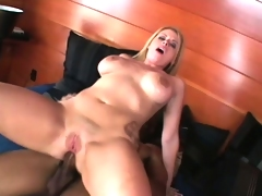 Stacked blond Daphne Rosen takes a massive black cock deep in her ass