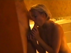 A European blonde moans with pleasure as her dude bones her cunt