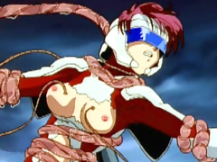 Hentai girl caught by tentacles in top of roof
