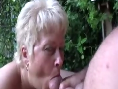 Mature blonde engulf and clean her old man's cock