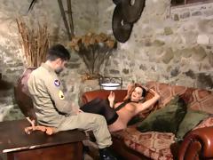 Sexy brunnete in stockings rides her boyfriend