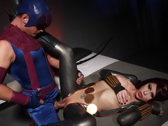 Two lesbian super heroines tease and fuck each other to intensive climax