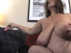 Busty grown-up BBW dildoing