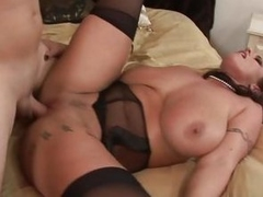 Fat titted Eva Notty gets her pussy blocked far nearby cock