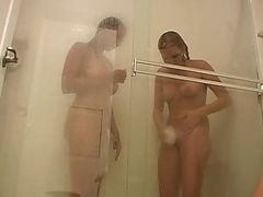 Two hot chicks take a shower together with get frisky