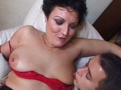 Horny beamy tits granny enjoying young white and dismal boners