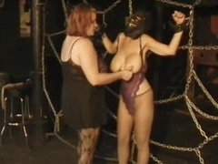Strict Lesbian Dominatrix Torture Their Naturally Breasty Disciple