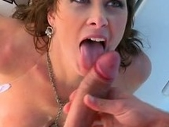 Busty brunette milf Ashlee Raine gets all her holes drilled on a yacht
