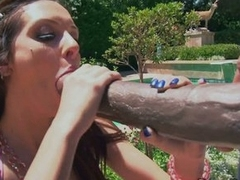 Jock whore Stephanie Kane eats up a giant dose of hot man meat