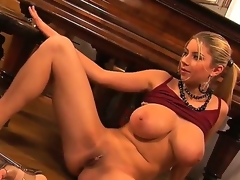 Busty and crazy hottie named Snow widens their way legs and masturbates with their way fingers