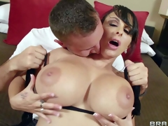 Holly Halston is a gorgeous milf with biggest melons. Her perfect monster tits turn him on and he pulls out his unbending cock. She sucks his cock and he plays with her gigantic boobs