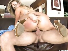 Kagney Linn Karter with big bottom gets her mouth stretched by powerful erect worm of sexy dude