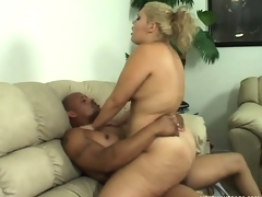 Breasty babe Vanessa Lee moves on top of her black paramour and rides his huge dick