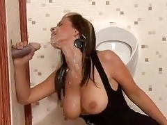 Brunette gets absolutely covered in cum