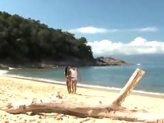 Beautiful Big Boobs Bald Latina Babe Has Sex On The Beach Outdoor