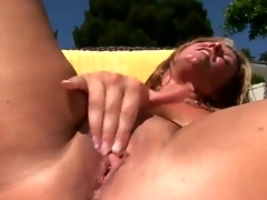 Kinky Blond labia close by oustanding chest receives A phallus outside