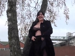 Huge Dilettante milfs public exhibitionism and alfresco chubby flashing of knockers and beaver in A busy roundabout