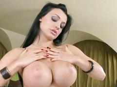 Aletta Ocean plays with her new black dildo