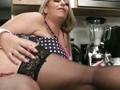 He nails hot blonde fatty nearby kitchen