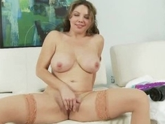 Bosomy infant thither puristic pussy shafting her pussy thither dildo