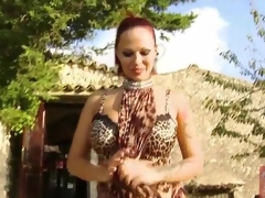 Busty babe Dominno in leopard print outfit