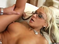 Sexy assed Brandy Blair spreads her slits wide and feels the stiff cock in her