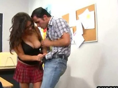 Busty brunette schoolgirl sucking coupled with shacking up