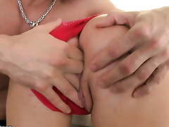 Redhead Bellina bounces up and down with snake in her bum