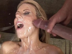 Carolyn Reese lets a hard cock unload all over her pretty light