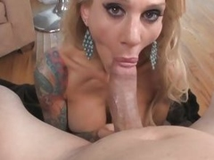 Tattooed Milf Sarah Jessie Shows Cock sucking Skill