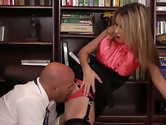 The office becomes really inconsolable with crazy hot secretary Courtney Cummz and her Mr Big brass Derrick Drill