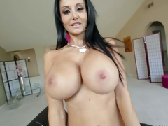 Topless milfyf brunette Ava Addams in panties and shoes is proud of her unthinkably huge melons. That babe shows off her killer breasts with smile on her face. That babe loves playing with her oiled up tatas
