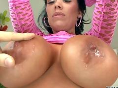 Sienna West is a gorgeous black haired sexy milf with bubble ass and huge tits. That babe widens her round buttocks in front of a lucky fellow before that babe gets her massive tits licked. That babe removes her pink fishnet dress and shows her assets