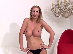 Have a fun seeing the cool-looking scene with fascinating busty woman Leigh Darby. The mature lady is going to demonstrate her body before starting to rub twat by fingers.