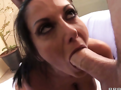 Ava Addams gives head to James Deen in advance of she gets screwed in her back porch