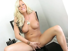 Eden Adams with massive jugs and trimmed cunt dildo fucking her cunt