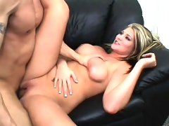 Sultry young blonde takes a lengthy knob in her peach and a huge cumload on her boobs